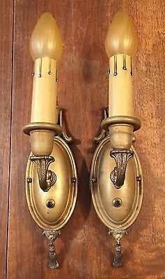Raw Brass Sconces Vintage Antique Wired Pair Electric Candles