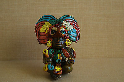 Mexican Maya Aztec Clay Handmade Figurine Warrior In Bird Headdress Mexico