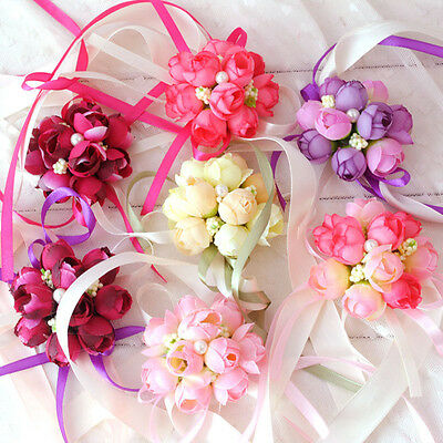 5PCS Wrist Corsage Bridesmaid Sisters Hand Flowers for Wedding Party Wholesale