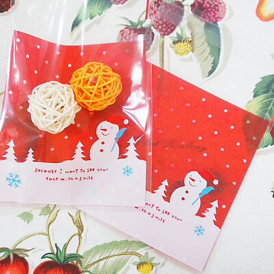 30PCS Christmas Transparent Diy Gift Candy Cookie Plastic Bag (Include Bag Only)