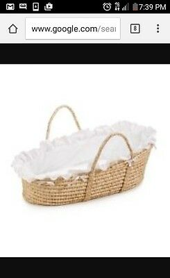 Badger Natural Moses Basket With White Bedding Saks Fifth Avenue Exclusive NEW