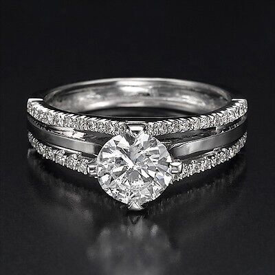 1.95 CT F/VS2 Natural Enhanced Round Cut Diamond Engagement Ring 14K White Gold
