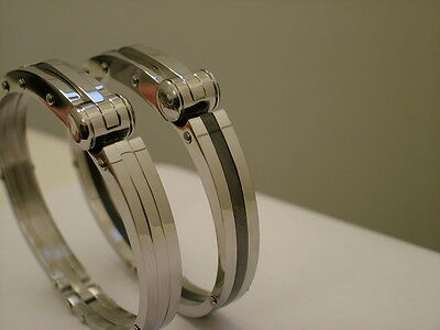 Impressive Mens Stainless Steel Handcuff Bracelet Bangle Cuff Silver & or Black.