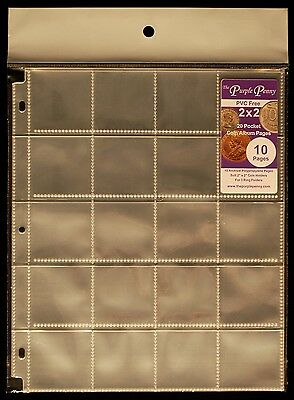 10 Pack 2x2 Coin Album Pages PVC FREE 20 Pockets Polypropylene Coin Safe *NEW*