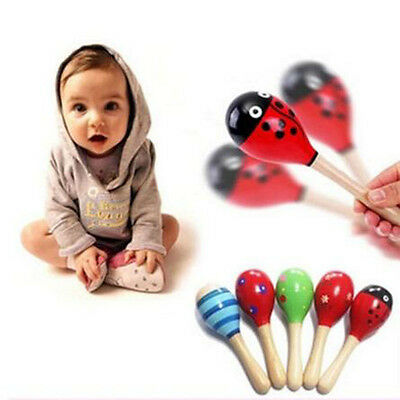 Colorful Cartoon Wooden Baby Kids Sound Music Toddler Rattle Musical Toy Gift
