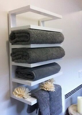 Timber Hanging Bath Towel Caddy, Wood 'NEW' Chic White-2017 Home Staging Trend