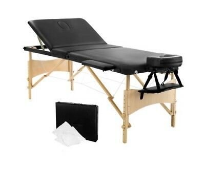 Portable Wooden 3 Fold Massage Table Bed Chair Body Therapy Waxing 70cm Black