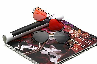UV400 Polarized Women' Cat Eye Street Fashion Sunglass Mirrored Flat Lens 074
