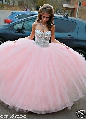 Vestido de Debutante Pink Ball Gown Sweet 15 Quinceanera Dresses with Crystals