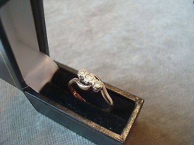 LADIES 9CT .375 YELLOW GOLD DIAMOND RING 2.3g SIZE N BOXED REF 7476