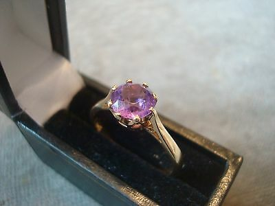 LADIES 9CT .375 YELLOW GOLD AMETHYST RING 2.5g SIZE Q BOXED REF 7456