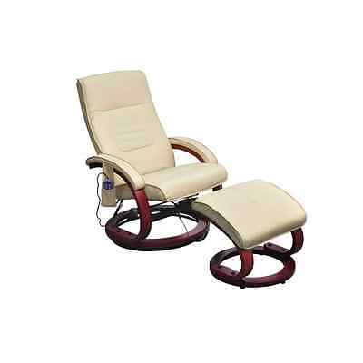 Leather Massage Recliner TV Chair Stool Set Electric Remote Control Cream Office