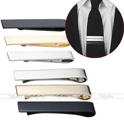 Men's Stainless Steel Simple Smooth Thin Necktie Tie Bars Clip Clasp Small + Big
