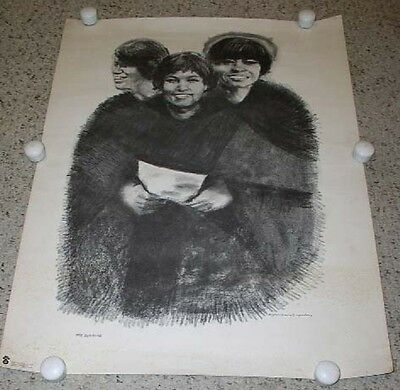 The Supremes Poster Vintage 1960's Eugene Hawkins Charcoal Print Diana Ross