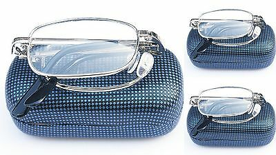 3 PAIRS Folding Gold & Silver Metal Frame Reading Glasses Blue Case+Cloth MT01B