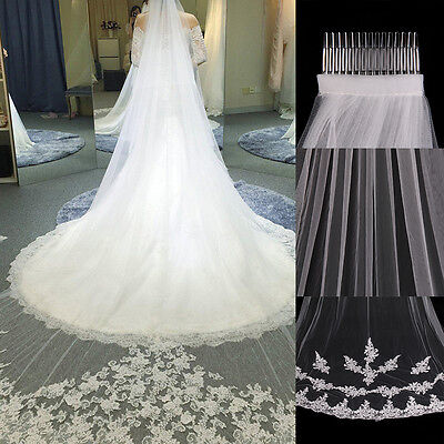 New Ivory White Floor Length Lace Edge Bride Wedding Bridal Veil With Comb