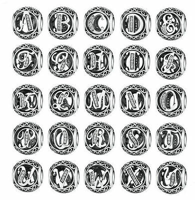 Hot Letters European Silver CZ Spacer Charm Beads Fit sterling 925 Bracelet