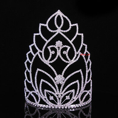 "7"" High Large Full Crystal Wedding Bridal Party Pageant Prom Tiara Crown Combs"
