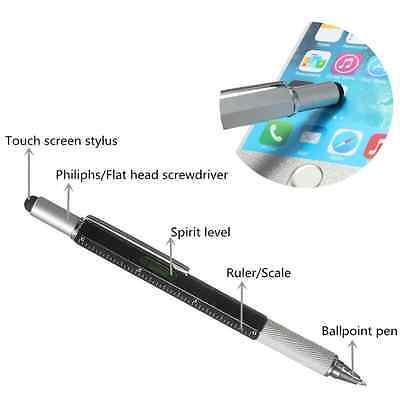 AAA 6 In 1 Touch Stylus Ballpoint Pen With Spirit Level Ruler Screwdriver Tool