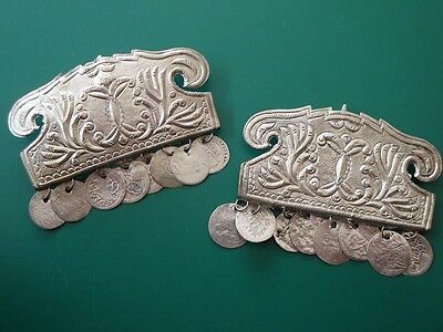 BULKY GORGEOUS-Ottoman PAIR of Macedonian silver alloy earrings-19th century
