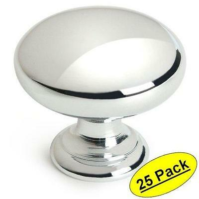 25 Chrome Finish Cabinet Drawer Door pull  Hardware Metal Knobs Modern Mushroom