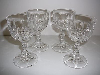 Set of 4 x Heavy Lead Crystal wine glasses 12.5cms tall drinking
