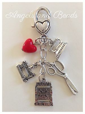Keychain. I Love Quilting. Sewing Machine. Iron. Scissors. Hearts. Silver Charms