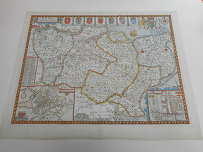 100% Original Large Kent Map By John Speed C1676 Edition Vgc/fine Hand Coloured