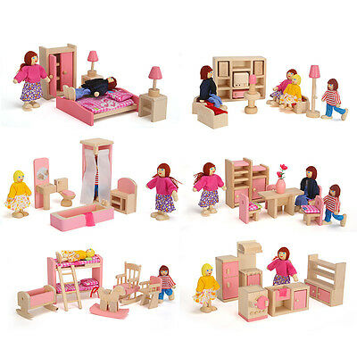 Wooden Miniature Furniture Toys Bedroom Kitchen Bathroom Living Room Play Toy