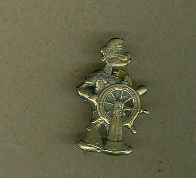Popeye The Sailor Man Clutch Pinback Pin Ships Wheel Classic Pose Brushed Finish
