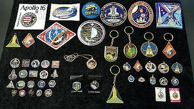 50 Pieces Vintage Nasa Pins Stickers Key Chains Patches Pendents Space