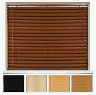 FAUX WOOD PVC VENETIAN BLINDS - TRIMMABLE - UP TO 210cm  DROP AVAILABLE