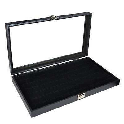 "Glass Top Black Jewelry Display Case With 72 Slot Ring Tray 14 3/4""W x 8 1/4""D x"
