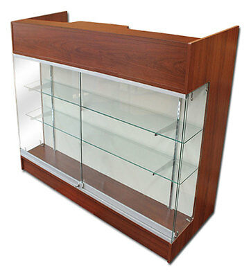 Ledgetop POS Sales Retail Display 4' Glass Showcase Counter Cherry Knockdown NEW