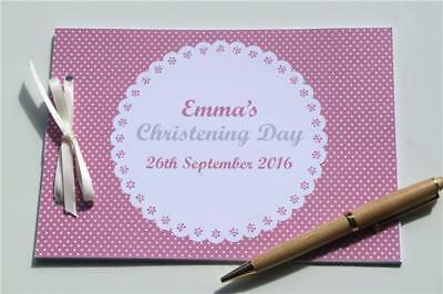 Personalised Christening Guest Book Blue Pink Keepsake Boy Girls