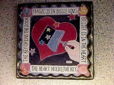 "Vintage Pocket Mirror Showing Heart ""the Heart Holds The Key"""