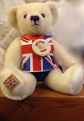 """Merrythought 13"""" teddy bear   ivory white   made in England   new   Ltd. Ed."""