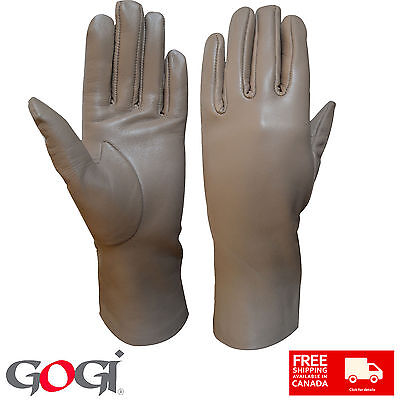 Top Quality Women Real Leather Long Wrist Dressing Casual Gloves beige color