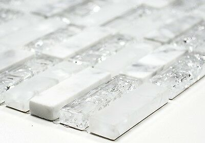 WHITE Clear/Frosted Translucent Mosaic tile Stick GLASS/STONE WALL - 87-s1211_b