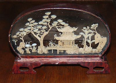 Vintage Japanese Carved Diorama of Temple in Bakelite Stand