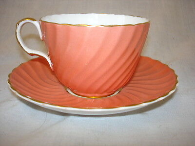 Vintage Orange And Gold Aynsley Cup & Saucer (Wi)