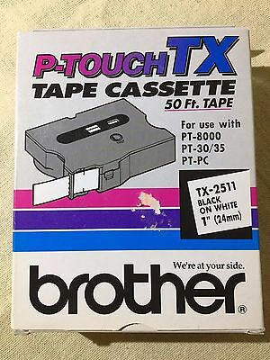 "NEW -Brother P-Touch TX Tape Cassette 50 Ft. Tape Black on White 1"" 24mm TX-2511"