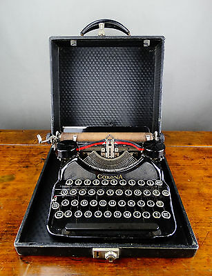LC Smith Corona Typewriter Model 4 Black Portable Manual with Case Vintage 1930s