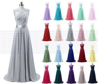 Long Chiffon Lace Wedding Evening Formal Party Ball Gown Prom Bridesmaid Dresses