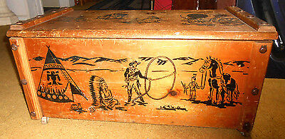 Vintage Cowboy & Indian Western Toy Box Wood / Wooden Chest Trunk w Rope Handles
