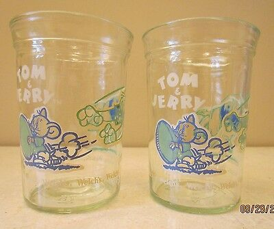 1991 Welch's Tom & Jerry Football Jelly Jar Glasses Green+Blue