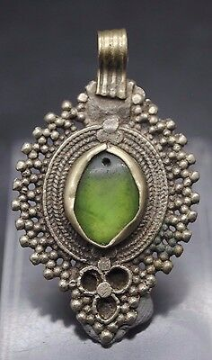 Beautiful Post Medieval Antique Silver Islamic Pendant With Glass Insert