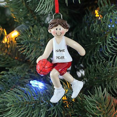 Boy Basketball Player Red Brown Hair Personalized Christmas Tree Ornament 2016