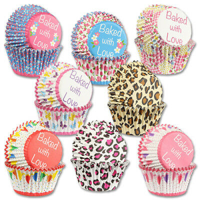 Baking Cases Foil Lined Cupcake Cases - Baked With Love - 4 Design - Pack of 25