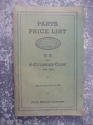 FORD 1928-1932 PARTS PRICE LIST V-8 and 4-CYLINDER Cars